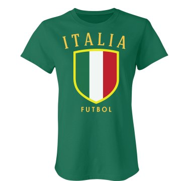 Italia Soccer Distress Junior Fit Bella Sheer Longer Length Rib Tee