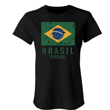 Brazil Soccer Distress Junior Fit Bella Crewneck Jersey Tee