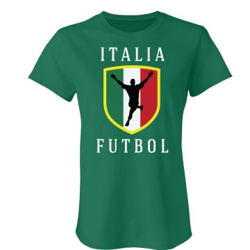 Italia Futbol Distress  Junior Fit Bella Crewneck Jersey Tee