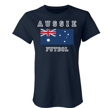 Aussie Futbol Shirt Junior Fit Bella Crewneck Jersey Tee