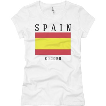Spain Flag T-shirt Junior Fit Basic Bella Favorite Tee