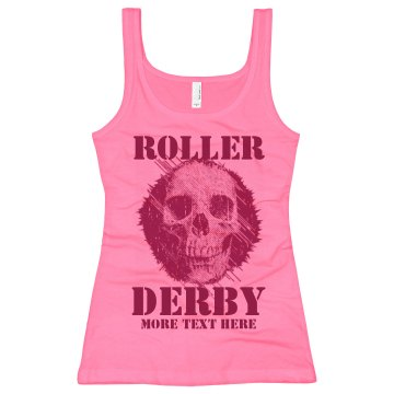 Roller Derby Skull Tank Junior Fit Bella Longer Length 1x1 Rib Tank Top
