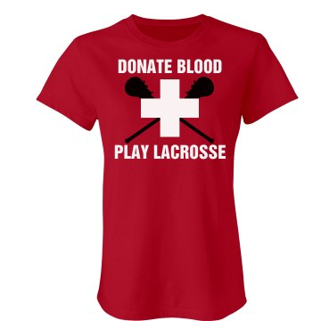 Lacrosse Donate Blood Junior Fit Bella Crewneck Jersey Tee