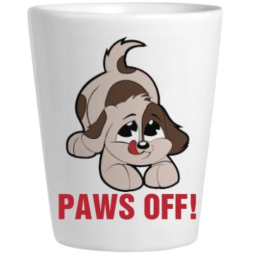 Paws Off Ceramic Shotglass