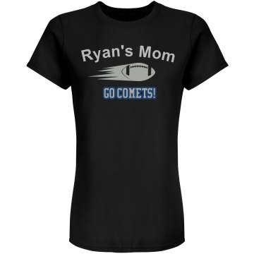 Ryan's Mom Rhinestone  Junior Fit Bella Double V Sheer Jersey Tee