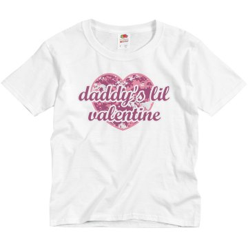 Daddy's Lil Valentine Youth Bella Girl 1x1 Rib Cap Sleeve Tee