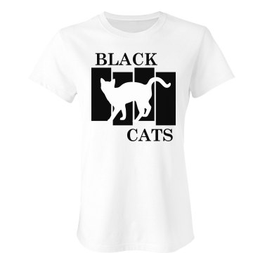 Black Cats Halloween Punk Junior Fit Bella Crewneck Jersey Tee