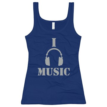 I Love Music Junior Fit Bella Longer Length 1x1 Rib Tank Top