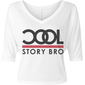 Cool Story Bro Misses Bella Flowy V-Neck Half-Sleeve Tee
