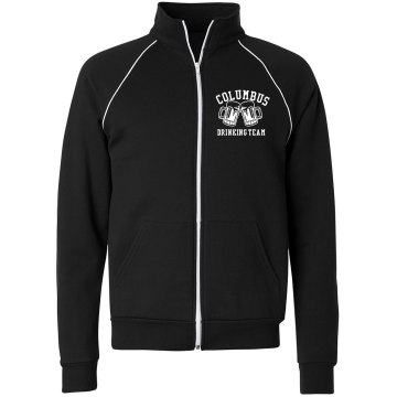 Drinking Team w/Back Unisex Canvas Fleece Full Zip Track Jacket