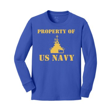 Property of US Navy Youth Gildan Ultra Cotton Long Sleeve Tee