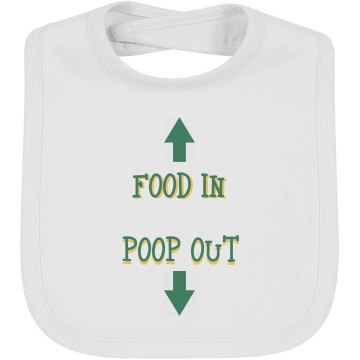 Food In Poop Out Infant Bella Baby 1x1 Rib Reversible Bib