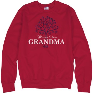 Blessed To Be A Grandma Unisex Hanes Crew Neck Sweatshirt
