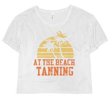 At the Beach Tanning Tee Misses Bella Flowy Boxy Lightweight Crop Tee