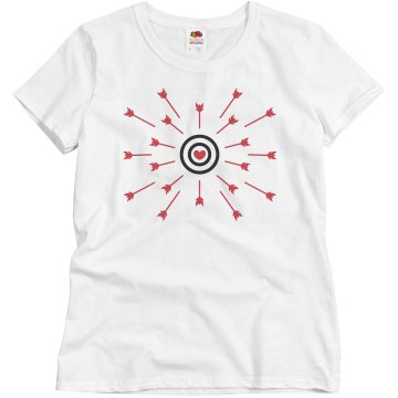 Heart Bullseye and Arrows Misses Relaxed Fit Basic Gildan Ultra Cotton Tee
