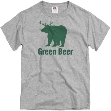 St Patricks Green Beer Unisex Basic Gildan Heavy Cotton Crew Neck Tee