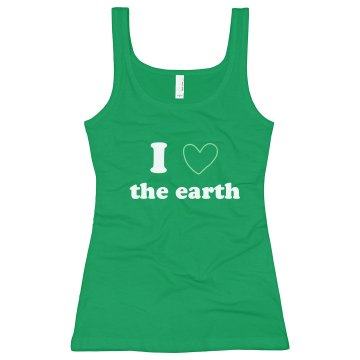 I Heart the Earth Junior Fit Bella Longer Length 1x1 Rib Tank Top