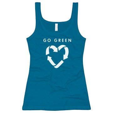 Go Green Earth Day Junior Fit Bella Longer Length 1x1 Rib Tank Top