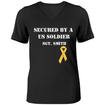 Secured By My Soldier Misses Relaxed Fit Anvil V-Neck Tee