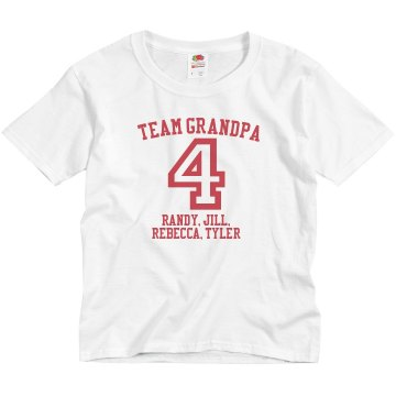 Team Grandpa Youth Anvil 3/4 Sleeve Raglan Baseball Tee