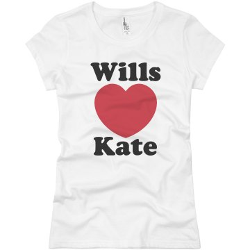 Wills and Kate Heart Junior Fit Basic Bella Favorite Tee