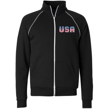 USA Red, White &amp; Blue Unisex Canvas Fleece Full Zip Track Jacket