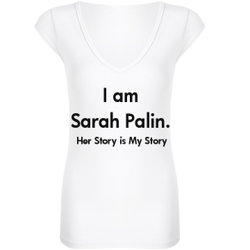 I am Sarah Palin Junior Fit Bella Sheer Longer Length Rib V-Neck Tee 