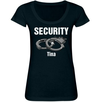 Security w/ Name Junior Fit Bella Sheer Longer Length Scoopneck Tee