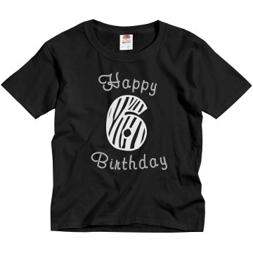Rhinestone 6 Birthday Tee Youth Gildan Ultra Cotton Crew Neck Tee
