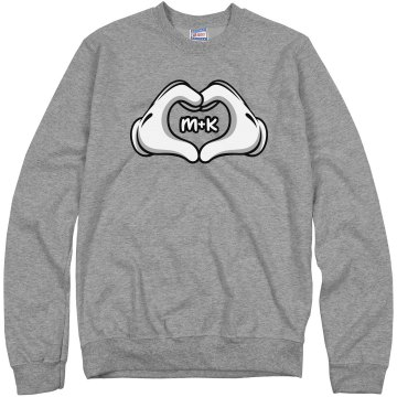 Love Hands Girl Unisex Hanes Crew Neck Sweatshirt