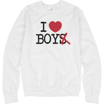 I Heart Boy Crewneck Unisex Hanes Crew Neck Sweatshirt