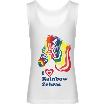 I Heart Rainbow Zebras Youth Bella Girl 1x1 Rib Tank Top