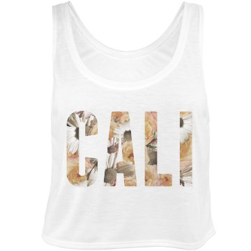 Cali Floral Text Bella Flowy Boxy Lightweight Crop Top Tank Top