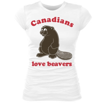Canadians Love Beavers Junior Fit Bella Sheer Longer Length Rib Tee