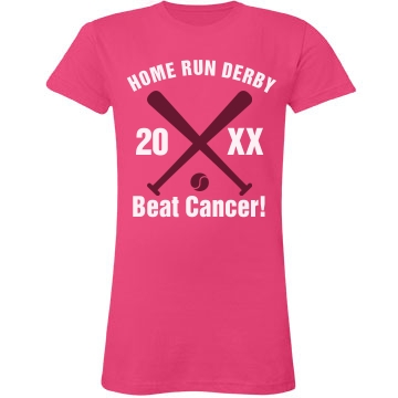 Cancer Home Run Derby Junior Fit LA T Fine Jersey Tee