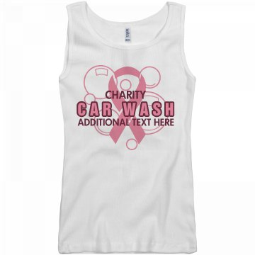 Car Wash Breast Cancer Junior Fit Basic Bella 2x1 Rib Tank Top