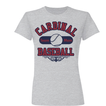 Cardinal Baseball Mom Junior Fit Basic Bella Favorite Tee