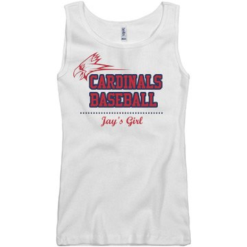 Cardinals Baseball Girl Junior Fit Basic Bella 2x1 Rib Tank Top