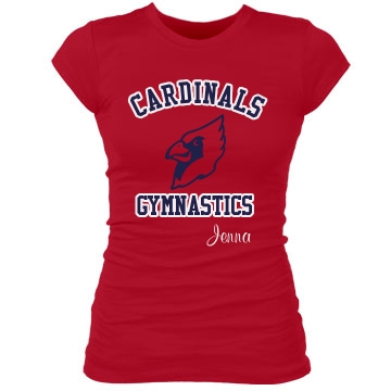 Cardinals Gymnastics Junior Fit Bella Sheer Longer Length Rib Tee