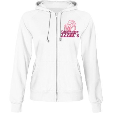 Catching Some ZZZZ's Junior Fit Bella Fleece Raglan Full Zip Hoodie