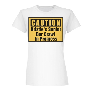 Caution Bar Crawl Junior Fit Basic Bella Favorite Tee