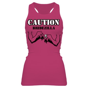 Caution Bridezilla Junior Fit Bella Sheer Longer Length Rib Racerback Tank Top