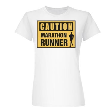 Caution Marathon Runner Junior Fit Basic Bella Favorite Tee