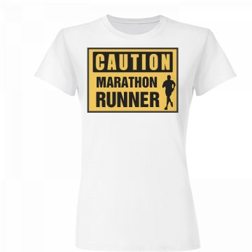 Caution Marathon Runner