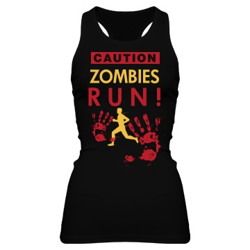 Caution, Zombies! Junior Fit Bella Sheer Longer Length Rib Racerback Tank Top
