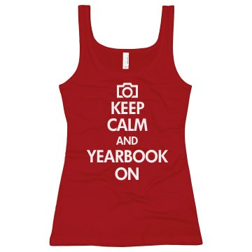 Keep Calm Yearbook On Junior Fit Bella Sheer Longer Length Rib Tank Top