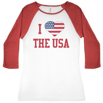 I Heart The USA Junior Fit Bella 1x1 Rib 3/4 Sleeve Raglan Tee