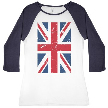 UK Flag Junior Fit Bella 1x1 Rib 3/4 Sleeve Raglan Tee