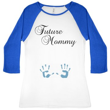 Future Mommy Maternity Junior Fit Bella 1x1 Rib 3&#x2F;4 Sleeve Raglan Tee