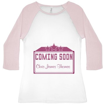 Coming Soon Maternity Junior Fit Bella 1x1 Rib 3/4 Sleeve Raglan Tee